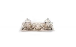 Set cafea turcesc Sena, cu desene fluture, 11 piese, culoare argintiu