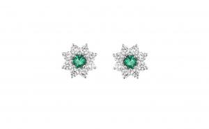 Cercei din aur alb 18K cu smarald natural si diamante naturale, CAU96