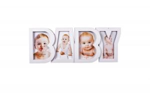 Rama foto alba pentru bebelusi , 18×45 cm, ATS, cu 4 locuri de poze