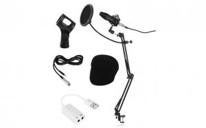Microfon cu USB conectare PC cu stand inclus pentru Inregistrare Vocala, Streaming, Gaming, Karaoke