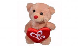Ursulet de plus bej cu inima rosie - 15 cm