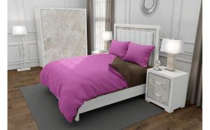 Lenjerie de pat matrimonial cu husa de perna dreptunghiulara, Duo Pink, bumbac satinat, gramaj tesatura 120 g mp, Roz Maro, 4 piese