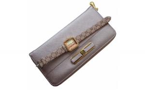 Pachet portofel elegant de dama - mov deschis + ceas dreptunghiular elegant de dama