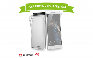Set Protectie HUAWEI P8 (Folie Sticla + Husa Silicon UltraSlim), la 30 RON in loc de 75 RON