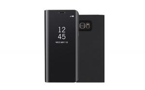 Husa compatibila Samsung Galaxy S7 Book Clear View Standing Cover (Oglinda), Neagra