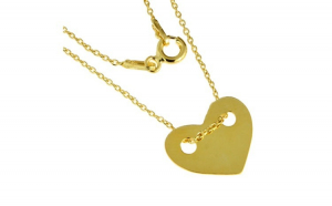 Lantisor argint 925 suflat aur cu inima