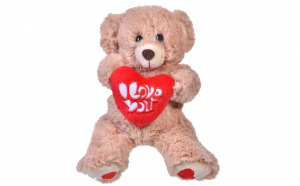 """Ursulet de plus bej cu inima - mesaj """"I love you"""", dimensiune 18 cm"""