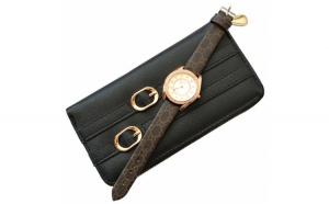 Pachet portofel elegant de dama cu fermoar - negru + ceas elegant de dama Lost Queen