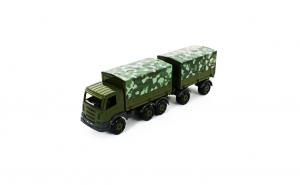 Camion Militar Cu Prelata Si Remorca - SuperTruck, 71x16x22 Cm