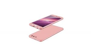 Husa Huawei Nova Flippy Full Cover 360 Roz Auriu + Folie de protectie