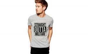 Tricou barbati gri cu text negru - Straight Outta Militari