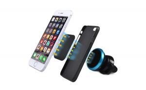 Suport telefon magnetic universal cu sistem de reglare a unghiului de inclinare, culoare Negru/Rosu TKG-776-rosu
