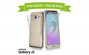 Set Protectie SAMSUNG Galaxy J3 (Folie Sticla + Husa Silicon UltraSlim), la 30 RON in loc de 75 RON