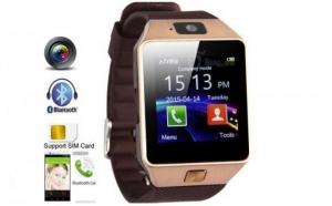 Ceas SmartWatch DZ09 Auriu Metalic Telefon microSIM microSD camera