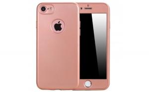 Husa Apple iPhone 6/6S Flippy Full Silicone 360 Roz Auriu + Folie de protectie