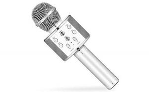 Microfon karaoke Reflection Vision®,  boxa inclusa, Port micro SD Card, USB, Argintiu/Gri