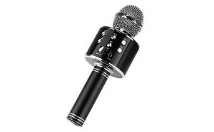 Microfon Wireless Negru (cu Functie de inregistrare Audio prin aplicatia Karaoke)
