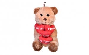 "Ursulet de plus bej cu inimioare rosii, 31 cm - cu mesajul ""I love you"" in 4 limbi diferite"