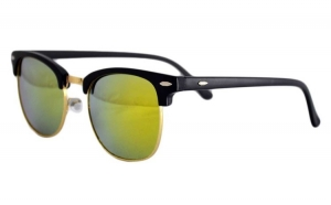 Ochelari de soare Retro Verde Reflexii - Negru