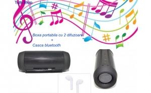 Boxa portabila de mare putere, cu doua difuzoare si multiple functii + Cadou: Casca Bluetooth ZuL I7 R, Handsfree, Alb