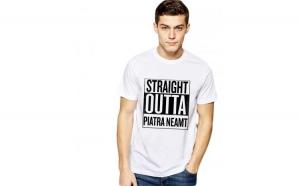 Tricou alb barbati - Straight Outta Piatra Neamt
