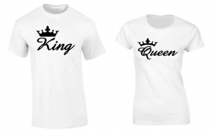 Set de tricouri pentru cupluri de indragostiti Crown King/Queen, la 99 RON in loc de 200 RON