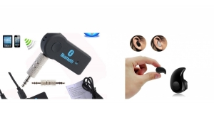 Mini casca Bluetooth + Adaptor Bluetooth Car Kit