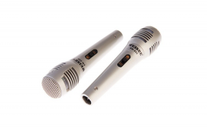 Set 2x Microfoane Dinamice cu Fir Weisre SM-888, Argintiu