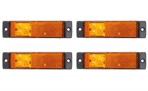 Set 4 lampi gabarit 130x32 cu 3 LED-uri, galbena, cu suport urechi, 12V