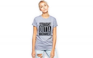 Tricou dama gri - Straight Outta Bucuresti