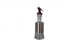 Oliviera moderna din sticla ,transpenta ,capac plastic Maron ,160 ml