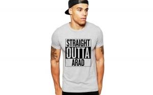 Tricou barbati gri cu text negru - Straight Outta Arad