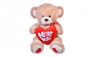 Ursulet de plus cu inima rosie si fundita bej 39 cm - I love you