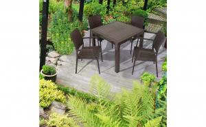 Set mobilier gradina/terasa , masa Ratan 90x90cm+4 Scaune Ratan, Maro, Elite, Asos Home