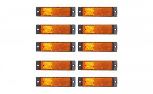 Set 10 lampi gabarit 130x32 cu 3 LED-uri, galbena, cu suport urechi, 12V