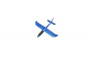 Avion planor din spuma flexibila, albastru, plus cadou spinner cu lumini