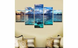 Set tablou Canvas, peisaj ocean 5 piese (30 x 50 cm, 30 x 70 cm, 30 x 80 cm)