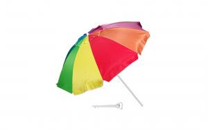 Umbrela plaja antivant, multicolor, diametru 220 cm + suport umbrela plastic