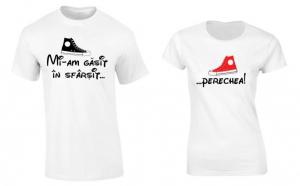 """Set de tricouri pentru cupluri """"Perechea potrivita"""", la 99 RON in loc de 200 RON"""