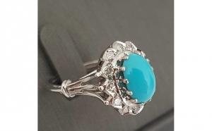 Imagine cupon oferta -                          Inel din Aur 18k cu Turcoaz si Diamante