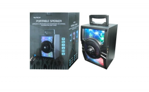 Boxa Rotech portabila wireless si MP3 cu microfon pentru karaoke, radio FM si spectacol de lumini+microfon