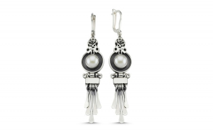 Cercei argint lungi cu perle, handmade