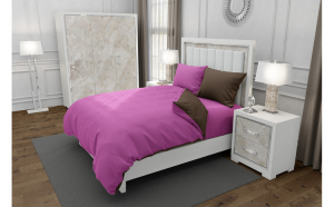 Lenjerie de pat matrimonial cu husa elastic pat si 4 huse perna dreptunghiulara si mix culori, Duo Pink, bumbac satinat, gramaj tesatura 120 g mp, Roz Maro, 6 piese