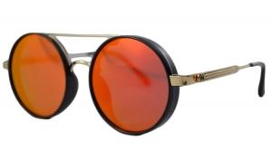 Ochelari de soare Rotunzi Rosu Oglinda cu reflexii - Auriu