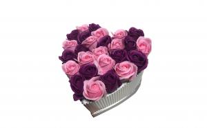 Trandafiri din sapun parfumati - inimioara 22 cm, i1-06