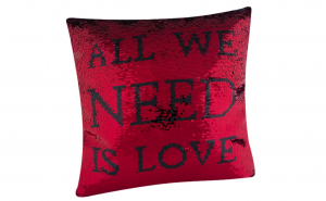 Perna cu paiete rosu/negru 40 x 40 cm All we need is love