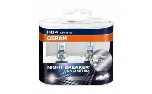 Set 2 becuri auto halogen pentru far Osram HB4 Night Breaker Unlimited +110% lumina