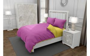 Lenjerie de pat matrimonial cu husa elastic pat si 4 huse perna cu mix dimensiuni, Duo Pink, bumbac satinat, gramaj tesatura 120 g mp, Roz Galben, 6 piese