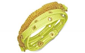 Bratara piele verde cu accesorii aurii