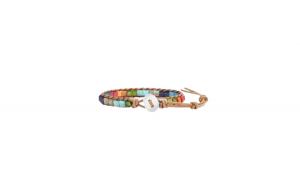 Bratara chakra, 7 culori , amuleta de activare si echilibrare centrilor energetici, ingusta inchidere rotunda sau patrata